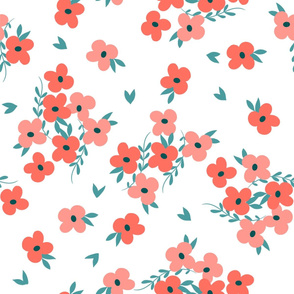 Coral Floral White