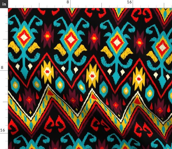Fabric by the Yard Native American Embroidered Diamond Rich Colors on Black