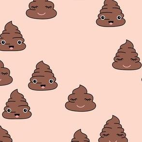 Adorable kawaii poop quirky dog poo emoji print pale nude beige
