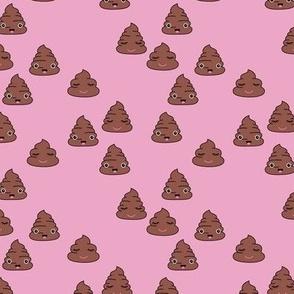 Adorable kawaii poop quirky dog poo emoji print pink girls SMALL