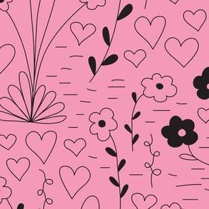 Cutsie Floral - Pink/Black - Large