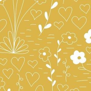 Cutsie Floral - Mustard - Large