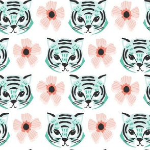 tiger flower stripe // blush, coral, mint and spearmint