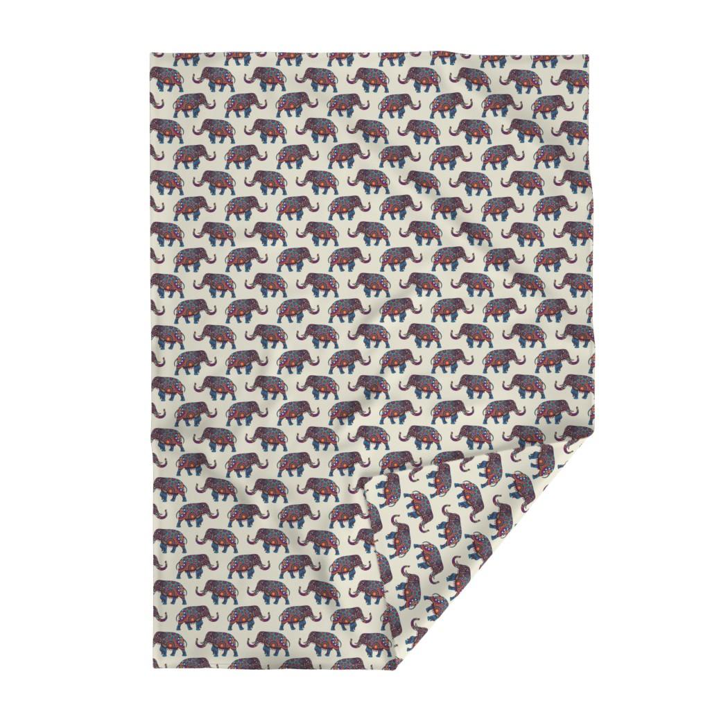 Lakenvelder Throw Blanket featuring Colorful Boho Marching Elephants by gypsea_art_designs