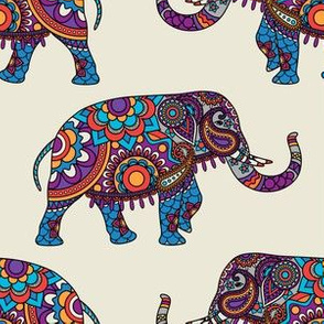 Colorful Boho Marching Elephants