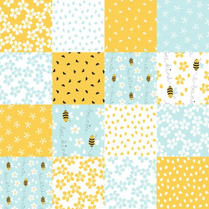 Bee Nice cheater quilt rotated 6''