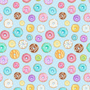 Rainbow Scattered Donuts on spotty pale blue - medium scale