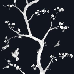 Jenny Modern Cherry Blossoms on black