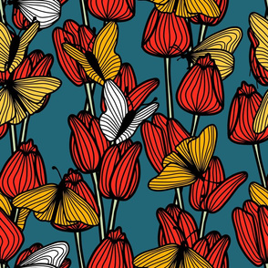 Tulips and Butterflies (blue)