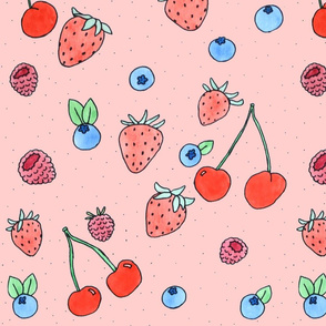 cherries and berries on pink