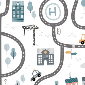 City roads - scandinavian playmat streets - big