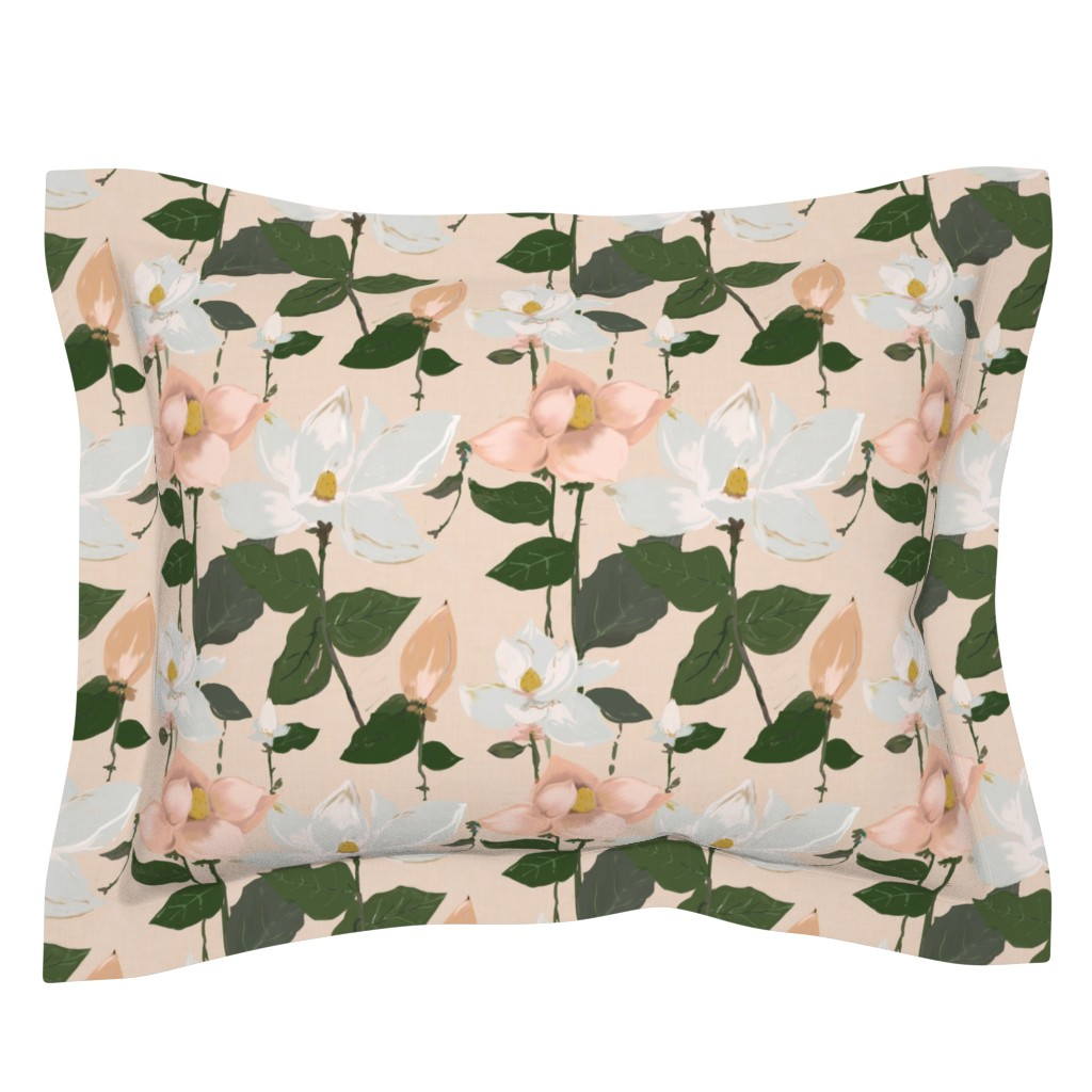 Sebright Pillow Sham featuring spring magnolias  by alison_janssen