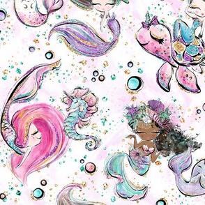Mermaid ocean glitter white