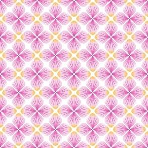 Pink Watercolor Petals Quatrefoil / White