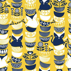 Small scale // Swedish folk cats // yellow background navy & white flowers bowls & cute kitties