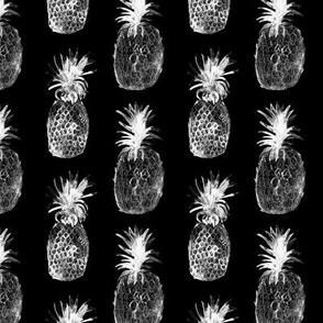 White pineapples on black