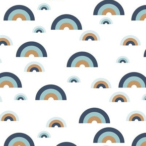 Minimal rainbow sky abstract curves illustration pattern modern Scandinavian trend blue boys