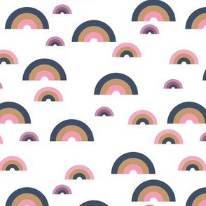 Minimal rainbow sky abstract curves illustration pattern modern Scandinavian trend pink girls winter