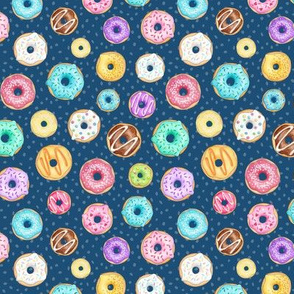 Rainbow Scattered Donuts on spotty navy - small scale