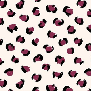 Trendy leopard print animals fur modern Scandinavian style raw brush  abstract maroon burgundy white