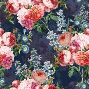 """14""""  Pierre-Joseph Redouté,Antique Victorian Roses, Lilacs and Hydrangea Bouquet -blue"""