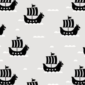 Little viking hero sea waves and vikings sailing boat cute ship design beige monochrome