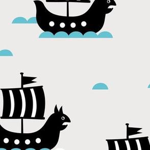 Little viking hero sea waves and vikings sailing boat cute ship design blue gender neutral JUMBO