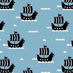 Little viking hero sea waves and vikings sailing boat cute ship design cool blue winter
