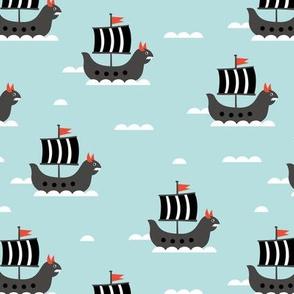 Little viking hero sea waves and vikings sailing boat cute ship design blue coral boys