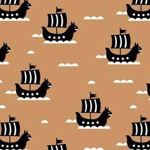 Little viking hero sea waves and vikings sailing boat cute ship design gender neutral