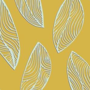 Woodgrain Leaves - Mustard