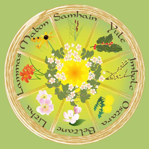 Wheel Of the Year with Flowers in Green