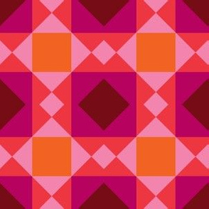 Pink, Magenta, Orange Geometric Portugues Tile