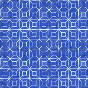 Geometric lino - cobalt  429