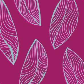 Woodgrain Leaves - Party Pink
