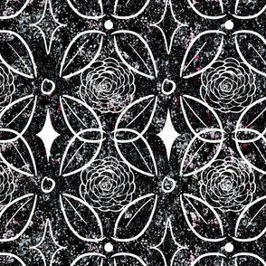 Black and White Stone Inlay of Roses and Leaves
