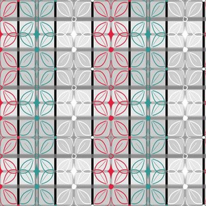 Butterfly Tile Stripes in Red, Teal, Gray, White