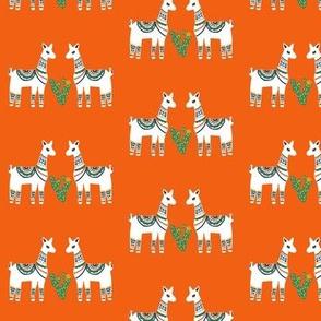 Lovely Llamas in Orange