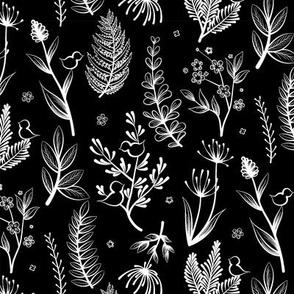 Botanical White Black