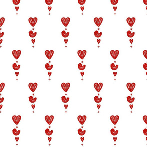 Red and White Scandinavian Birds and Hearts