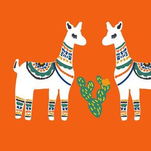 Fat Quarter Lovely Llamas in Orange