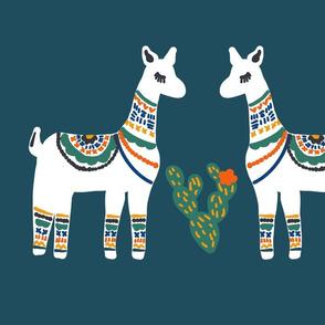 Fat Quarter Lovely llamas in Teal