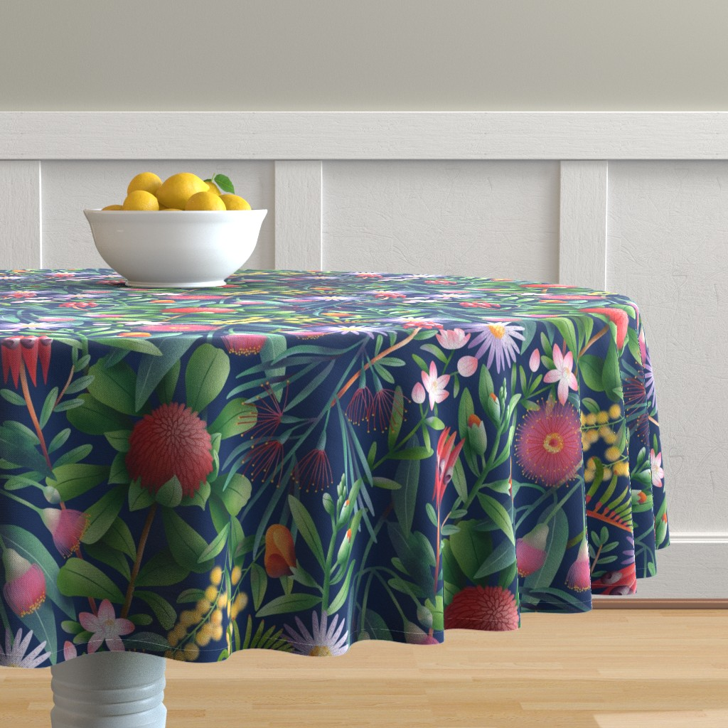 Malay Round Tablecloth featuring Australian flora pattern by stolenpencil
