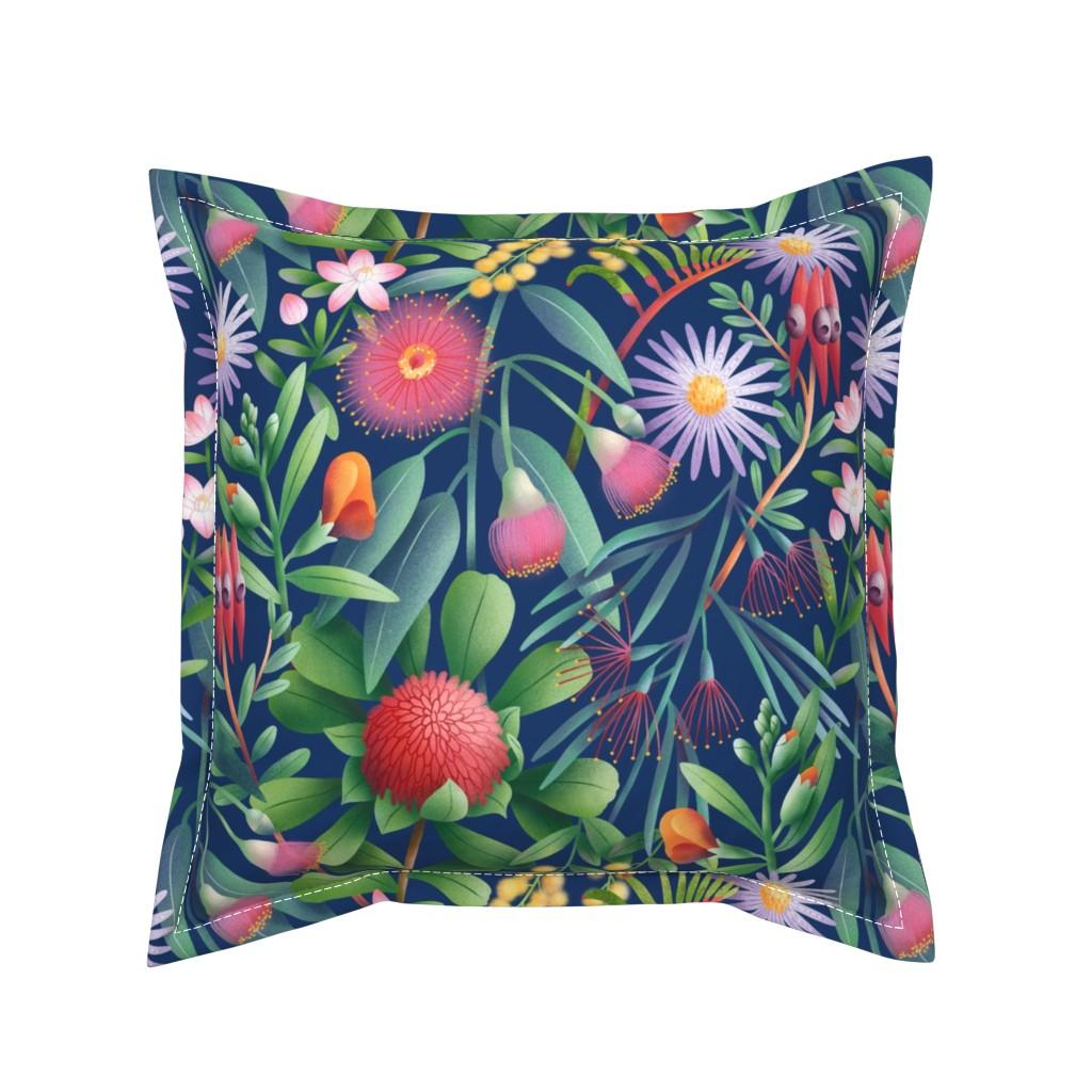 Serama Throw Pillow featuring Australian flora pattern by stolenpencil