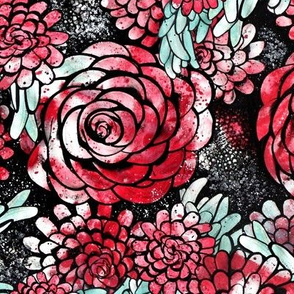 Large Scale Floral Roses and Dahlias in Black, Red, Teal