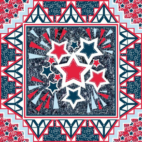 Parade Blanket Wholecloth Quilt for 4th of July in Red, White, Blue