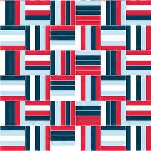 Red, White, and Blue Patriotic Basketweave for 4th of July