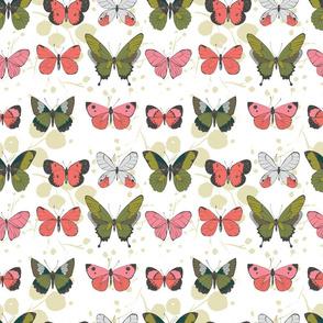 Pink Green Grey Pretty Butterflies on rows