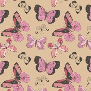 Pink Butterflies on Beige Background
