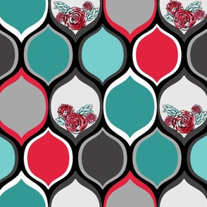 Teal, Black, Red Roses in Bold Ogee Pattern